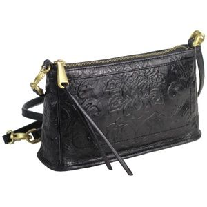 HOBO CADENCE Leather Crossbody Bag Embossed Black